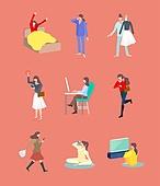 사람, 아이콘, 아이콘세트 (아이콘), 패턴, 비즈니스, 비즈니스우먼, 라이프스타일 (주제), 독신 (역할)