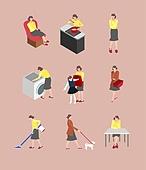 사람, 아이콘, 아이콘세트 (아이콘), 패턴, 전업아내 (고정관념), 가사 (허드렛일), 집안살림