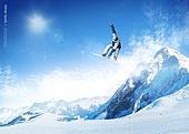 겨울, 스포츠, 눈 (얼어있는물), 스키장, 레저활동 (주제), 하늘, 설경 (풍경), 스노우보드 (스포츠용품), 점프