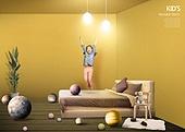 인테리어, 집, 상상력 (컨셉), 가구, 어린이 (인간의나이), 실내, 침대, 조명 (발광)