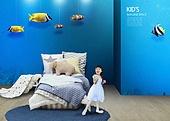 인테리어, 집, 상상력 (컨셉), 가구, 어린이 (인간의나이), 실내, 침대, 어류 (척추동물)