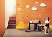 인테리어, 집, 상상력 (컨셉), 가구, 어린이 (인간의나이), 실내, 계단, 책상