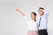남성, 여성, 비즈니스, 미소, 성공, 손짓, 멀리보기 (응시)