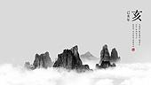 백그라운드, 산, 자연풍경, 흑백, 수묵화, 새해 (홀리데이), 2019년