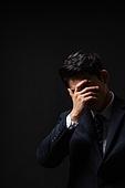 남성, 비즈니스맨, 스트레스, 손으로눈가리기 (가리기)