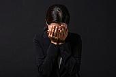 스트레스, 여성, 비즈니스우먼, 신입사원, 손으로눈가리기 (가리기)