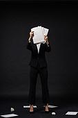 스트레스, 여성, 비즈니스우먼, 신입사원, 서류, 홀딩 (만지기), 얼굴가리기 (식별할수없는사람), 실패 (컨셉)