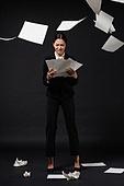 스트레스, 여성, 비즈니스우먼, 뿌리기, 서류, 슬픔, 스트레스 (컨셉)
