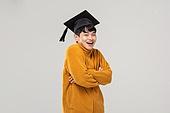 남성, 졸업, 학사모, 청년실업, 취업준비생, 낙천적 (컨셉)