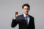 남성, 비즈니스맨, 손짓, 들어올리기 (물리적활동), 미소