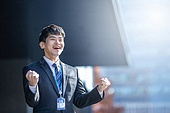 남성, 비즈니스, 구직 (실업), 신입사원 (화이트칼라), 성공, 미소, 희망, 화이팅, 자신감, 행복