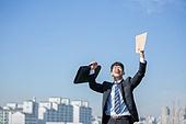 남성, 비즈니스, 구직 (실업), 신입사원 (화이트칼라), 성공, 뒷모습, 도전 (컨셉), 결의 (컨셉), 미소, 행복