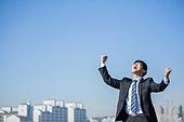 남성, 비즈니스, 구직 (실업), 신입사원 (화이트칼라), 성공, 도전 (컨셉), 결의 (컨셉), 기쁨, 미소, 환호 (말하기)
