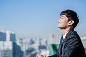 남성, 비즈니스, 구직 (실업), 신입사원 (화이트칼라), 성공, 뒷모습, 도전 (컨셉), 결의 (컨셉), 미소, 눈감음 (정지활동)