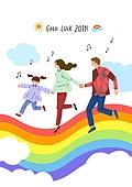 2019년, 새해 (홀리데이), 환호 (말하기), 희망, 기쁨, 음표, 구름, 청년, 어린이 (인간의나이)