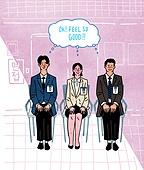구직 (실업), 취업준비생 (역할), 청년 (성인), 실업 (고용문제), 인터뷰 (사건), 말풍선