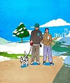 라이프스타일, 겨울, 사람, 따뜻한옷 (옷), 커플, 걷기 (물리적활동), 산책길, 강아지, 공원