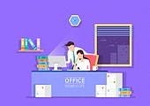 비즈니스, 사무실, 팀워크, 협력, 야간근무 (고용문제)