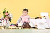 아기 (인간의나이), 남자아기 (남성), 한복, 전통문화 (주제), 돌잔치, 돌잡이 (한국전통), 생일, 생일 (사건), 한국인, 어린시절, 축하 (컨셉), 축하이벤트, 신생아, 자식 (가족)