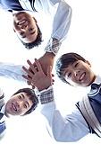 혼혈 (인종), 십대소년 (남성), 중학생, 교복, 다문화가족 (가족), 친구, 미소, 밝은표정, 화이팅, 단결 (함께함)