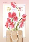 봄, 계절, 꽃, 파스텔톤 (색상강도), 튤립