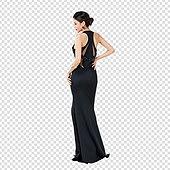 PNG, 누끼, 누끼 (컷아웃), 여성, 미녀 (아름다운사람), 드레스, 드레스 (의복), 포즈 (몸의 자세), 뒷모습 (뷰포인트)
