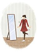 라이프스타일, 학생, 개학 (교육), 시작, 교복, 거울, 음표, 전신거울, 여학생