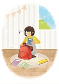 라이프스타일, 학생, 개학 (교육), 시작, 초등학생, 책가방, 가방