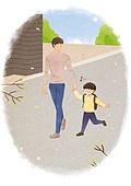라이프스타일, 학생, 개학 (교육), 시작, 초등학생, 출석 (움직이는활동), 아빠, 부모