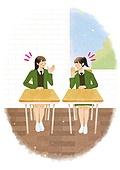 라이프스타일, 학생, 개학 (교육), 시작, 교복, 교실, 여학생, 친구