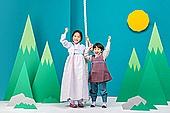 전래동화, 퍼포먼스극 (공연예술), 동화, 어린이 (인간의나이), 한복, 햇님달님, 밧줄