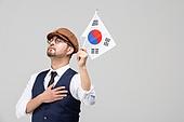 남성, 애국심 (주제), 태극기, 눈감음 (정지활동)