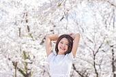 여성, 봄, 벚꽃, 벚나무 (과수), 산림욕, 감성