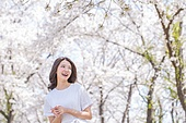 여성, 봄, 벚꽃, 벚나무 (과수), 행복, 아름다운자연, 만족