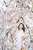여성, 봄, 벚꽃, 벚나무 (과수), 모자, 만족
