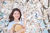 여성, 봄, 벚꽃, 벚나무 (과수), 바람, 리프레시 (컨셉)