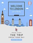일러스트, 이벤트페이지, 팝업, 여행, 휴가, 랜드마크, 여행사, 런던 (영국남동부), 런던브릿지-잉글랜드 (런던시)