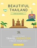일러스트, 이벤트페이지, 팝업, 여행, 휴가, 랜드마크, 여행사, 태국 (인도차이나)