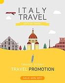 일러스트, 이벤트페이지, 팝업, 여행, 휴가, 랜드마크, 여행사, 이탈리아 (남부유럽)