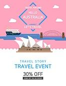 일러스트, 이벤트페이지, 팝업, 여행, 휴가, 랜드마크, 여행사, 호주 (오세아니아), 시드니오페라하우스 (시드니항)
