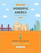 일러스트, 이벤트페이지, 팝업, 여행, 휴가, 랜드마크, 여행사, 미국 (북아메리카), 러시모어산기념비