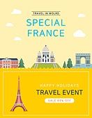 일러스트, 이벤트페이지, 팝업, 여행, 휴가, 랜드마크, 여행사, 프랑스 (중부유럽), 에펠탑
