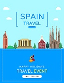 일러스트, 이벤트페이지, 팝업, 여행, 휴가, 랜드마크, 여행사, 스페인 (이베리아반도)