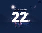 축하, 기념, 감사, 생일, 배너