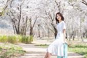 여성, 봄, 벚꽃, 벚나무 (과수), 교외전경 (Setting), 여행, 길, 산책길 (보행로), 미소