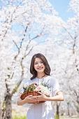 여성, 봄, 벚꽃, 벚나무 (과수), 교외전경 (Setting), 여행, 미소, 행복