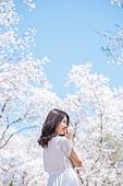 여성, 봄, 벚꽃, 벚나무 (과수), 교외전경 (Setting), 여행, 미소, 수줍음 (감정)