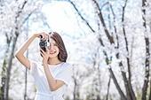 여성, 봄, 벚꽃, 벚나무 (과수), 교외전경 (Setting), 여행, 카메라, 촬영, 미소, 만족, 행복