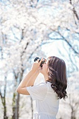 여성, 봄, 벚꽃, 벚나무 (과수), 교외전경 (Setting), 여행, 카메라, 촬영