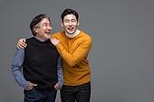 한국인, 아빠, 아들, 가족, 미소, 어깨동무